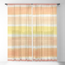 Orange Striped Abstract Sheer Curtain