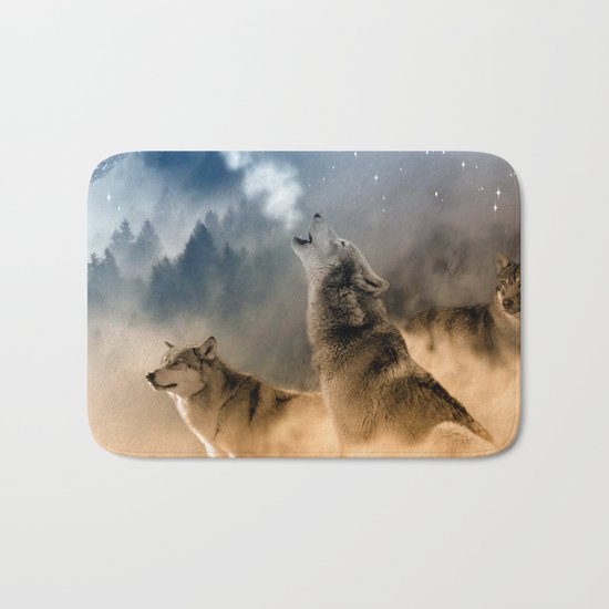 Fantasy Wolf Wolves Animal Bath Mat