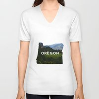 oregon V-neck T-shirts featuring Oregon by Hillary Murphy