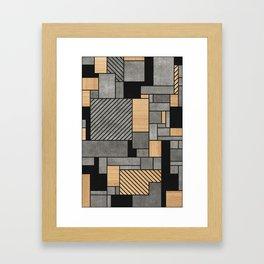 Random Pattern - Concrete and Wood Framed Art Print