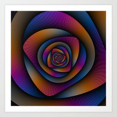 Spiral Labyrinth in Blue Orange and Pink Art Print