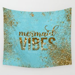 Mermaid Vibes - Gold Glitter On Teal Wall Tapestry
