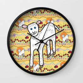 © Little Lamb with ladybugs pattern Wall Clock
