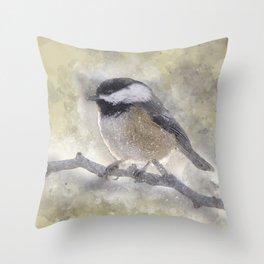 Snowy Chickadee Throw Pillow