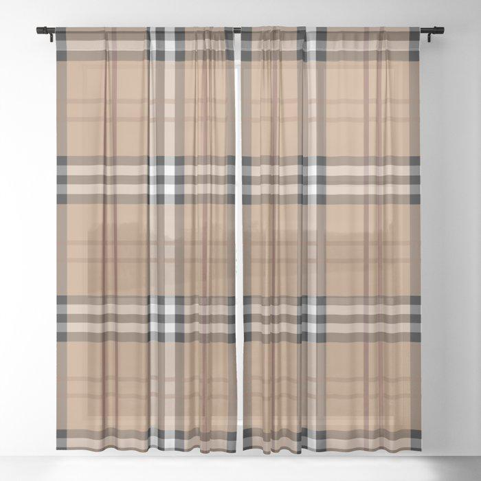 Classic Vintage Brown Check  Tartan Sheer Curtain