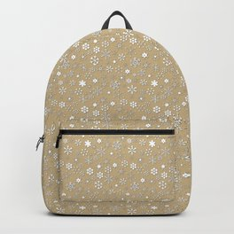Gold & White Christmas Snowflakes Backpack