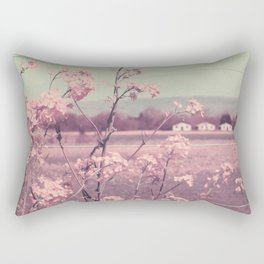 Sweet Spring (Teal Sky, Soft Pink Wildflowers, Rural Cottage) Rectangular Pillow