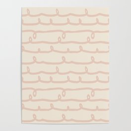 Vine Stripes Vintage Pink on Rose Petal Cream Poster