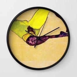 Egon Schiele - Reclining nude (new color edit) Wall Clock