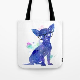 Hipster chihuahua blue edition Tote Bag