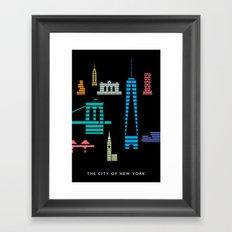 New York Skyline One WTC Poster Black Framed Art Print