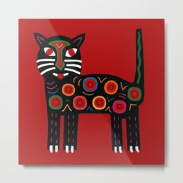Happy Mola Cat - Dharma Rojo - Metal Print