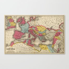 Vintage Map of The Roman Empire (1875) Canvas Print