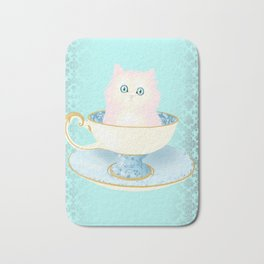 Pink Teacup Kitten Bath Mat