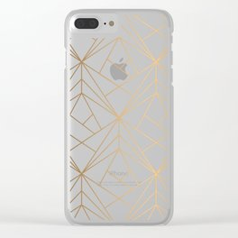 Geometric Gold Pattern With White Shimmer Clear iPhone Case