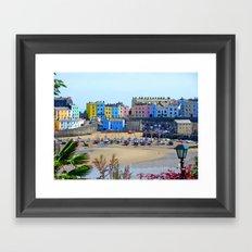 Tenby Harbour.Colour.Reflection. Framed Art Print