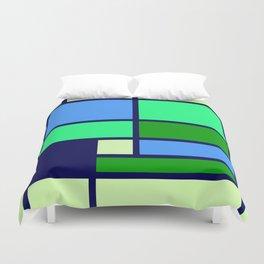 Mondrianista green blue Duvet Cover