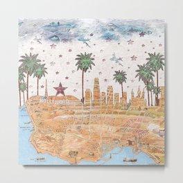 Los Angeles skyline vintage map Metal Print