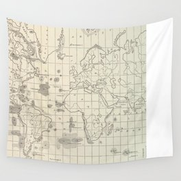 Vintage Map of The World Whaling Grounds (1880) Wall Tapestry