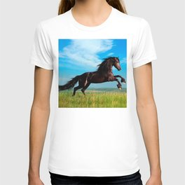 black and wild Stallion Rearing Horse T-shirt