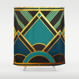 Art Deco New Tomorrow In Turquoise Shower Curtain