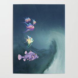 Tropical Fish and Wave Poster