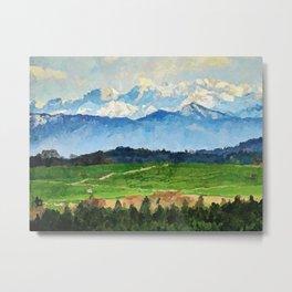 Landscape - Acrylic & Palette Knife Paint on Canvas Metal Print