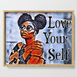 Love Your Self African American Black Woman Serving Tray
