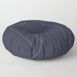Woman's back line drawing - Alex Blue Floor Pillow