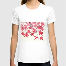 red maple leaves watercolor painting T-shirt