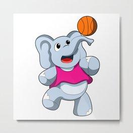 Elephant as Basketball player with Basketball Metal Print