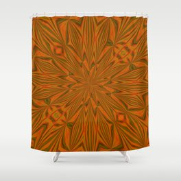 Autumnal Leaves Red Green and Amber Abstract Kaleidoscope Shower Curtain