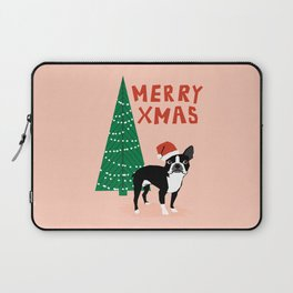 Boston Terrier Xmas - christmas tree holiday pet dog lover gift with boston terrier cute santa hat  Laptop Sleeve