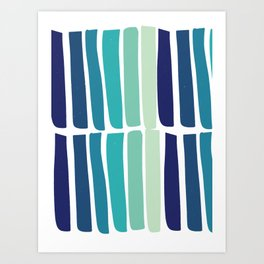 Hand Drawn Blue Green Stripes Pattern Minimal Art Print