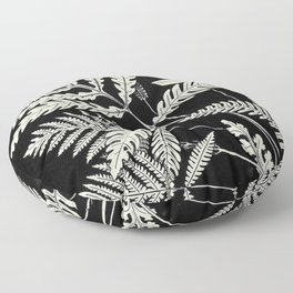 Ferns and evergreens of New England-Edward Knobel - 1895 Leaves Black & White Ink Pattern Floor Pillow