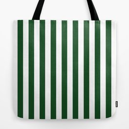 Large Forest Green and White Rustic Vertical Beach Stripes Tote Bag