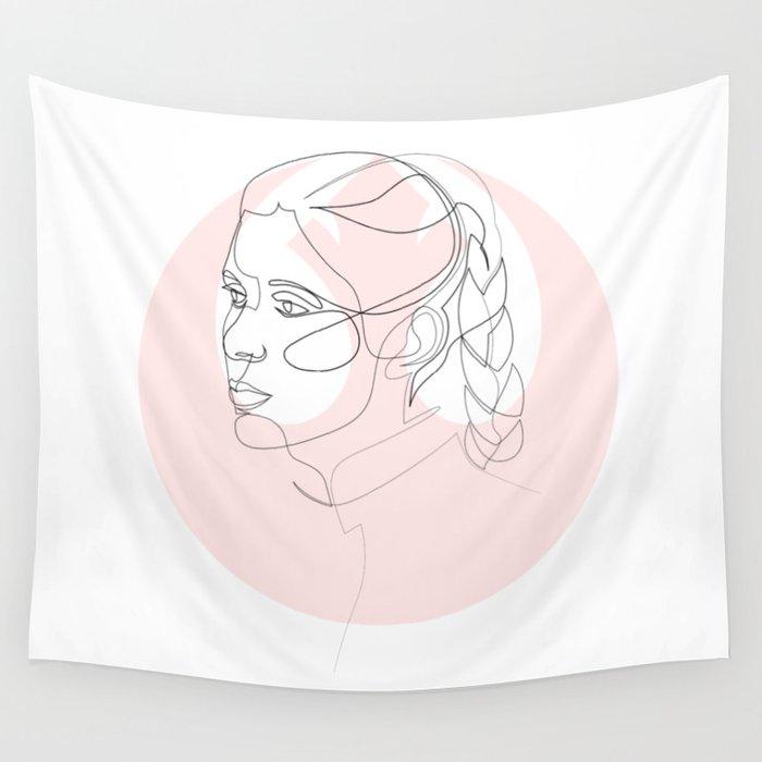 Princess Organa - single line art Wall Tapestry