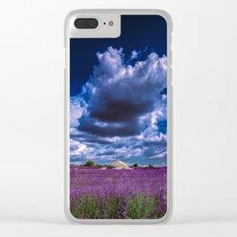 "Beautiful purple landscape with clouds in ""La Provençe, France""! Clear iPhone Case"