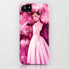 Audrey in Pink Flowers iPhone SE Slim Case