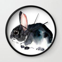Bunny, Cute gray bunny Nursery Art children room watercolor bunny art Wall Clock