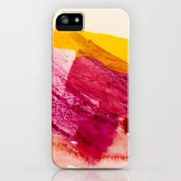 Pink Lemonade: a minimal, colorful abstract mixed media with bold strokes of pinks, and yellow iPhone Case