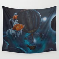 hot air balloon Wall Tapestries featuring steampunk hot air balloon by Annelies202