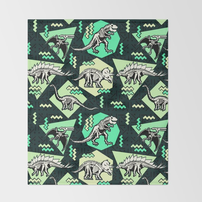 90's Dinosaur Skeleton Neon Pattern Throw Blanket