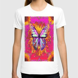 Rainbow Colored Butterfly On Red-fuchsia Sunflower Floral  T-shirt