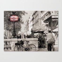 Paris Art Nouveau Pietons Metro - Metropolitan Subway Station Sign black and white photograph Canvas Print