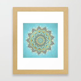 Cyan & Golden Yellow Sunny Skies Medallion Framed Art Print