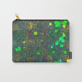 psychedelic abstract art texture background in green yellow black Carry-All Pouch