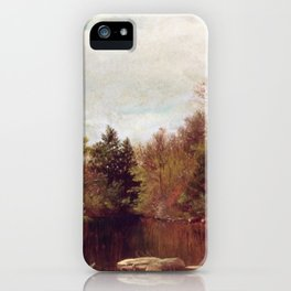Spring A Study On The Bronx At Mt Vernon 1873 By David Johnson | Reproduction | Romanticism Landscap iPhone Case