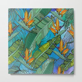 Tropical pattern. Banana palm tree leaves. Watercolor textured. Metal Print