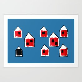 Small Red Village with a Black Lamb on Blue Art Print